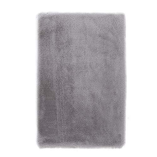 Kurzfell-Teppich Kunstfell Hasenfell Imitat | Wohnzimmer Schlafzimmer Kinderzimmer | Als Faux Bett-Vorleger oder Matte für Stuhl Hocker Sofa (Grau, 60 x 90 cm)