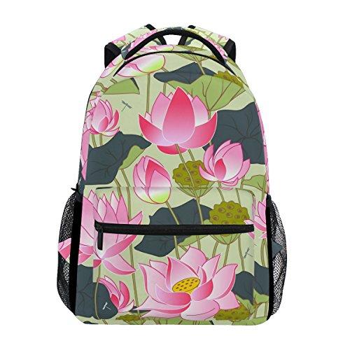 TIZORAX Blooming Pink Lotus Blumen Rucksack/Schultasche/Schulranzen Wandern Reise Rucksack