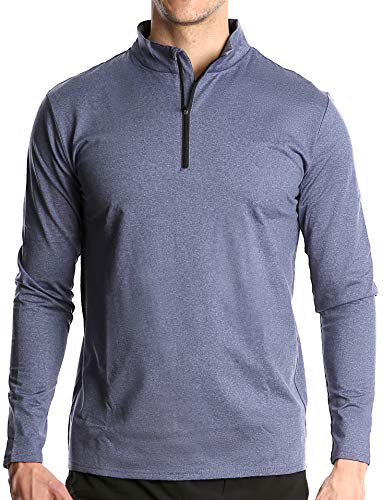 Fort Isle Men's Long Sleeve Half-Zip Pull Over Shirt - L - Blue - Quick Dry Performance for Running