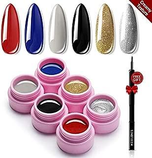 Modelones 6 Colors Solid Cream Gel Polish Set - Soak Off UV Nail Polish Set Gel Nail Art Salon Set Nail Art Painting Colors Pigment with Free Painting Pen