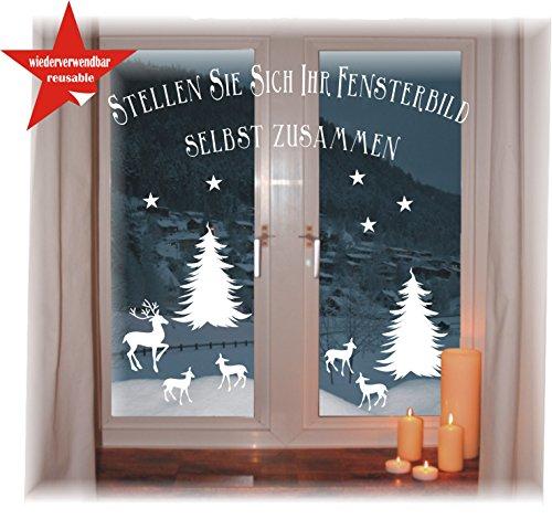 das-label Wiederverwendbare winterliche Fensterbilder weiß | Winterwald mit Baum, Hirsch und Rehkitz | Weihnachten | Fensterdeko | konturgetanzt ohne transparenten Hintergrund (Winterwald mit Sterne)