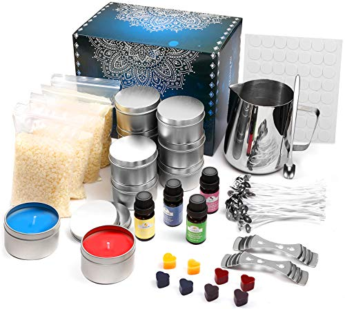 Hasidi Complete Candle Making Kit Supplies DIY Scented Candles Set as Decoratins for Women Christmas Birthday Party Anniversary with Bee Wax, Wicks, Melting Pitcher, Tins & More