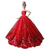Beetest Splendida Partito Vestito Matrimonio Abiti per Barbie Doll / Moda Barbie Bambole Nozze Festa Sposa Abito Compleanno Natale Regalo, Rosso + Paillettes