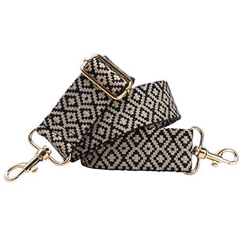 BENAVA Taschengurt Schulterriemen Schwarz Weiß Karo Verstellbar Baumwolle 40mm Karabiner Farbe Gold – Stilvolles Accessoire für Taschen Handtaschen