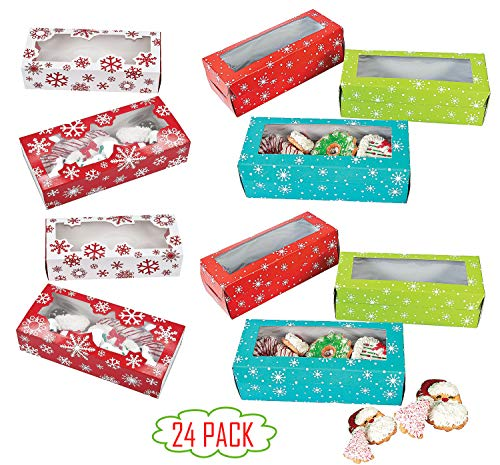 Christmas Cookie Boxes Bulk (24 Pack) Gift Giving Kraft Packaging Holiday Christmas Food, Bakery Treat Boxes with Window by By 4E's Novelty