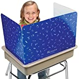 Really Good Stuff Large Privacy Shields for Student Desks – Set of 12 - Gloss - Study Carrel Reduces Distractions - Keep Eyes from Wandering During Tests, Blue with School Supplies Pattern