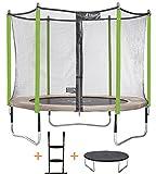 Kangui - Trampoline de Jardin 305 cm + Filet de sécurité + échelle + bâche de Protection JUMPI Taupe/Vert 300.