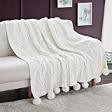 Revdomfly Chenille Knitted Throw Blanket with Pom Poms, Fuzzy & Fluffy Couch Cover Decorative Knit Blanket for Sofa Bed, 51.2' x 63', White