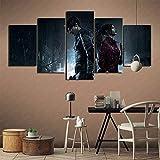 GBxebenYN02 Gimnasio Sala Resident Evil 2 juego 5 piezas cinco juntas lienzo pintura pared decoración 200x100cm pintura sin marco