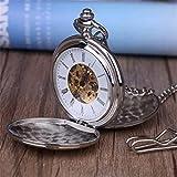 Reloj De Bolsillo con Cadena Retro Golden Pocket Fob Relojes Relojes De Bolsillo Mecánicos Grabado Hombres Mujeres Accesorios De Bolsillo Regalos Silverdoubleopen