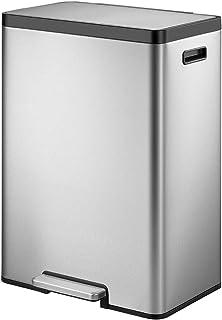 EKO EcoCasa II 45 Liter / 11. 8 Gallon Rectangular Kitchen Step Trash Can, Brushed Stainless Steel Finish