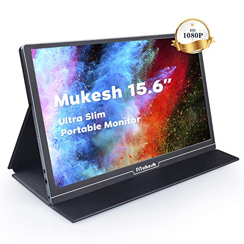 Tragbarer Gaming Monitor Mukesh 15,6 Zoll tragbarer USB C IPS LCD Monitor 1920 × 1080 Externes Full-HD-Display mit Mini-HDMI Typ C für Raspberry Pi-Laptop PC MAC PS4 Xbox-Handy