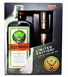 Jägermeister Box Geschenkset - Jägermeister Kräuterlikör 70cl (35% Vol) + 2x Shotgläser...