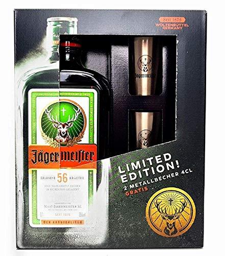 Jägermeister Box Geschenkset - Jägermeister Kräuterlikör 70cl (35% Vol) + 2x Shotgläser Metallbecher -[Enthält Sulfite]