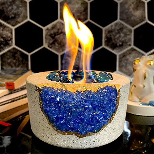 Tabletop Fireplace with Crystals | Indoor Rubbing Alcohol Bio Ethanol Fireplace Fire Bowl Pit Outdoor Decor Portable Table Top Small Chiminea Meditation Bowl Geode Candle Holder Boho Concrete Pot
