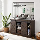 """MOOSENG Farmhouse TV Stand - [ 2020 Upgrade ] Universal Cabinet Table for 60"""", Modern Sliding Barn Door Stand, Entertainment Center, Media Storage Television Console for Living Room, Espresso"""
