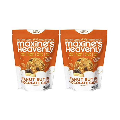 Maxine's Heavenly - Plant Based, Gluten Free, Low Sugar - Peanut Butter Chocolate Chunk Cookies (Pack of 2)