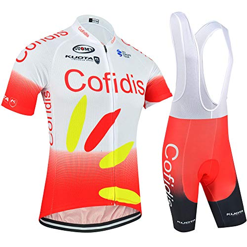 GHDUKEY Men's Cycling Clothing Set, Short Sleeves and MTB Culotte with 5D Gel Pad - Red - M