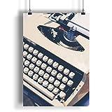 Machine à écrire blanche vintage A0 A1 A2 A3 A4 Affiche photo en satin a1970h