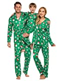 Ekouaer Unisex Boy Girls Long Sleeve Fleece Pajama Set for Xmas Party Holiday Teens Lougewear Sleepwear(Kids/Green,8-9T)