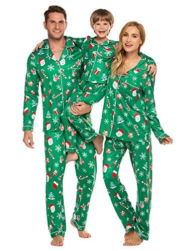 Ekouaer Womens Pajama Sets for Christmas Santa Claus Family Pjs Sets Button Up Classic Nightwear (Women/Green,L)