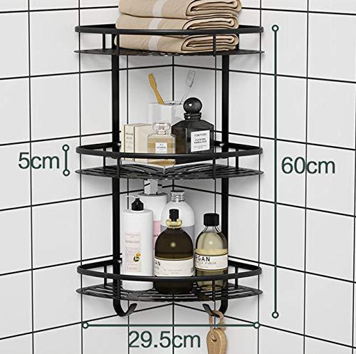 Duschregal Eckregal Ohne Bohren, Perforationsfreies, schwarzes Badregal zur Wandmontage, multifunktionales Eckregal in Dreieckform-C