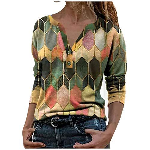 Damen Button Langarm V-Ausschnitt Modisch Bedruckt Casual Shirt Tops
