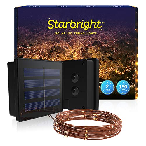 Starbright Solar LED String Lights (1-Pack) 2 Strings Warm White 150-Bulb Fairy Lights, 8 Lighting Modes for Outdoor, Garden, Tree, Patio, Fence, Hedge
