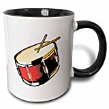 3dRose Snare Drum Red Realistic Slanted Two Tone Mug, 11 oz, Black