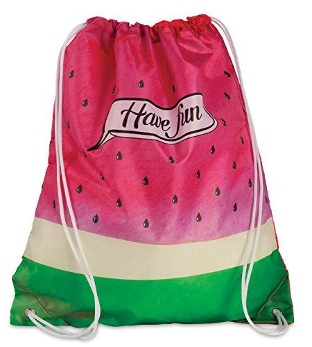 Turnbeutel Sporttasche mit Kordelzug Sport-Beutel Tasche im Trend-Design Melone pink