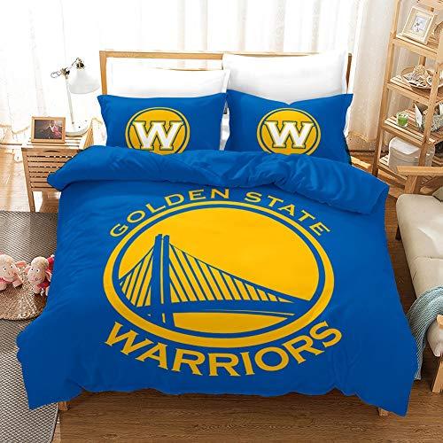 Vampsky NBA Golden State Warriors Basket Club Adolescenti delle Famiglie Bedding 3 Pezzi con Chiusura a Cerniera, 100% Microfibra Fanatic Basketball Fans 3D Stampa 1 Copripiumino 2 Pillow Shams