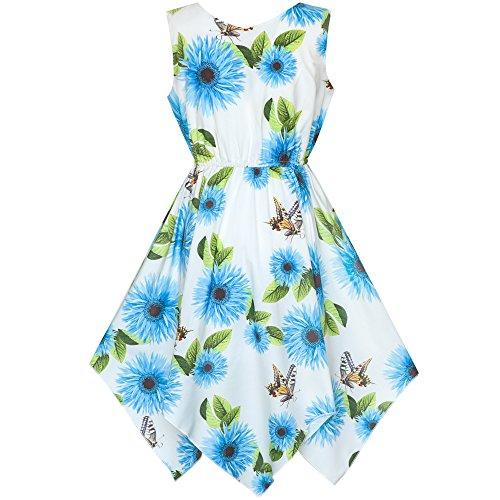 Sunny Fashion Girls Dress Blue Flower Hanky Hem with Necklace Size 8