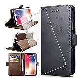 HYMY Hülle für LG K20 2019 + Schutzfolie - Schwarz Einfach Stil PU Leder Lederhülle Flip mit Brieftasche Geldbörse Card Slot Handyhülle Cover