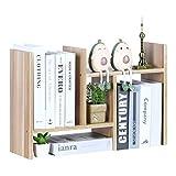 YCOCO Wood Desktop Bookshelf,Adjustable Storage Rack Countertop Bookcase Office Supplies Desk Organizer,Display Stand Shelf for Office,Kitchen,Bathroom,Makeup,Light Brown