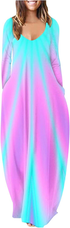 ManxiVoo Loose Dress for Women Casual Summer Long Sleeve Maxi Dress Beach Print Long Maxi Dress with Pockets