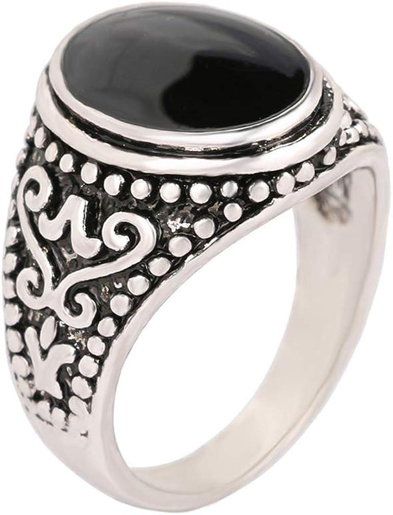 YAZILIND Simple Black Gemstone Ring Exquisite Jewelry Unisex Statement Rings Birthday Gift