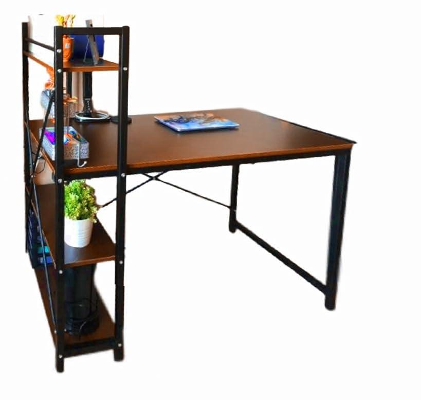 Blogger Desk Bookcase Computer 3 Shelves Office Standing Wood Student Shelf Table Gaming Corner Desktop Keyboard Modern Unit & Ebook by AllTim3Shopping.