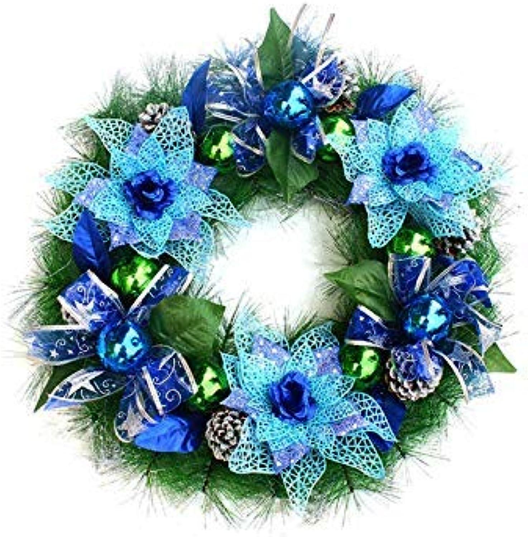 HUAIX Home Flor Creativa Guirnalda de Navidad Adornos para Colgar en la Puerta Habitación Colgantes de árboles de Navidad para decoración (Azul) Regalo
