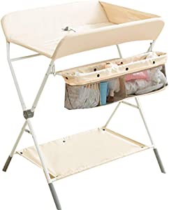 JINYANG Children Portable Clothes Diaper Changing Table Baby Care Station Newborn Massage Table Baby Shower and Changing Table Adjustable Storage Foldable Safety Straps Nursery