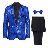 GWELL Herren 3-teilige Anzüge mit Stickerei Strass Pailletten 1 Knopf Bühnenkostüme Smoking Sakko + Hose + Krawatte Set Slim Fit Blau L