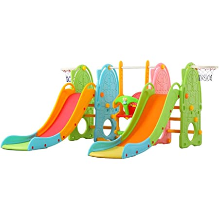 UKBK 3-in-1 Toddler Mountaineering /& Swing Set,Slide /& Swing Set with Basketball Hoop for Kids,Children Slide Climber Swing Set,Large Kindergarten Playing Toys Set,Indoor /& Backyard for Boy Girl