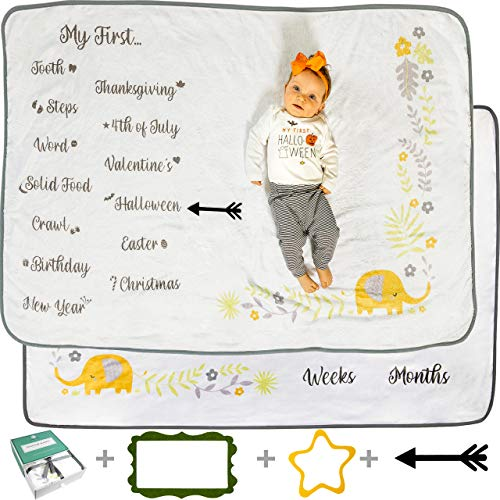 """Babble Bum Baby Monthly Milestone Blanket for Boy or Girl with 3 Photo Props - Gender Neutral Soft Fleece Double-Sided First Year Newborn Month Blanket with Weeks/Months, Holidays, Firsts (40"""" x 60"""")"""