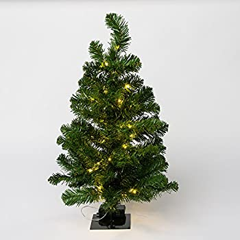 Small Light up Pine Tree with Burlap Wooden Base for Xmas Spring Home Decorations with 50 Warm White Fairy Lights Tabletop Artificial Tree Juegoal 24Inch Pre-lit Christmas Pine Tree