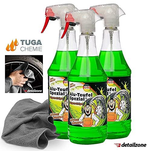 detailzone Juego de 3 limpiadores de llantas Tuga Alu Teufel Spezial Green 1 L + 1 paño de microfibra de 40 x 40 cm, color gris