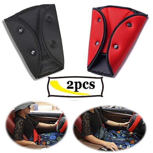 Ansblue Ajusteur de ceinture de sécurité, Ajusteur de ceinture de sécurité pour enfant, Positionneur de ceinture de sécurité Ajusteur de ceinture de sécurité enfant Ceintures - 2pcs (noir et rouge)