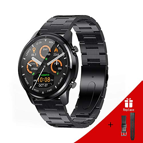 LEMFO Smart Watch for Men Full Touch Screen Steel Stainless Smart Watch Heart Rate Monitor Blood...