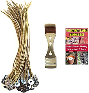 Cozyours 8 Inch Hemp Candle Wicks with Centering Device (50/1 Pack), Pre-Waxed by 100% Natural Beeswax