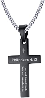 Stainless Steel Philippians 4:13 Christian Bible Verse Engraved Cross Pendant Necklace for Men,20