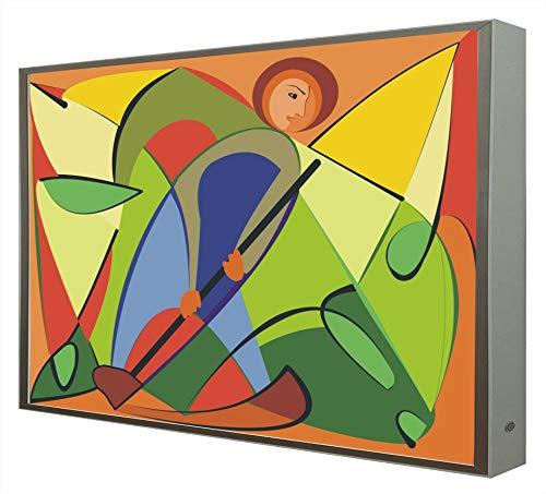 Cuadro con Marco de Madera Lacada en Blanco Retroiluminado Arte Abstracto