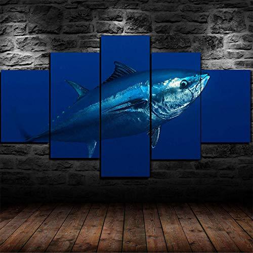 GMSM Bilder Riesiger Atlantischer Bluefin-Thunfisch-Fisch - 100 x 55cm - Leinwandbilder - Fertig Aufgespannt - Vlies Leinwand - Kunstdrucke - Wandbild